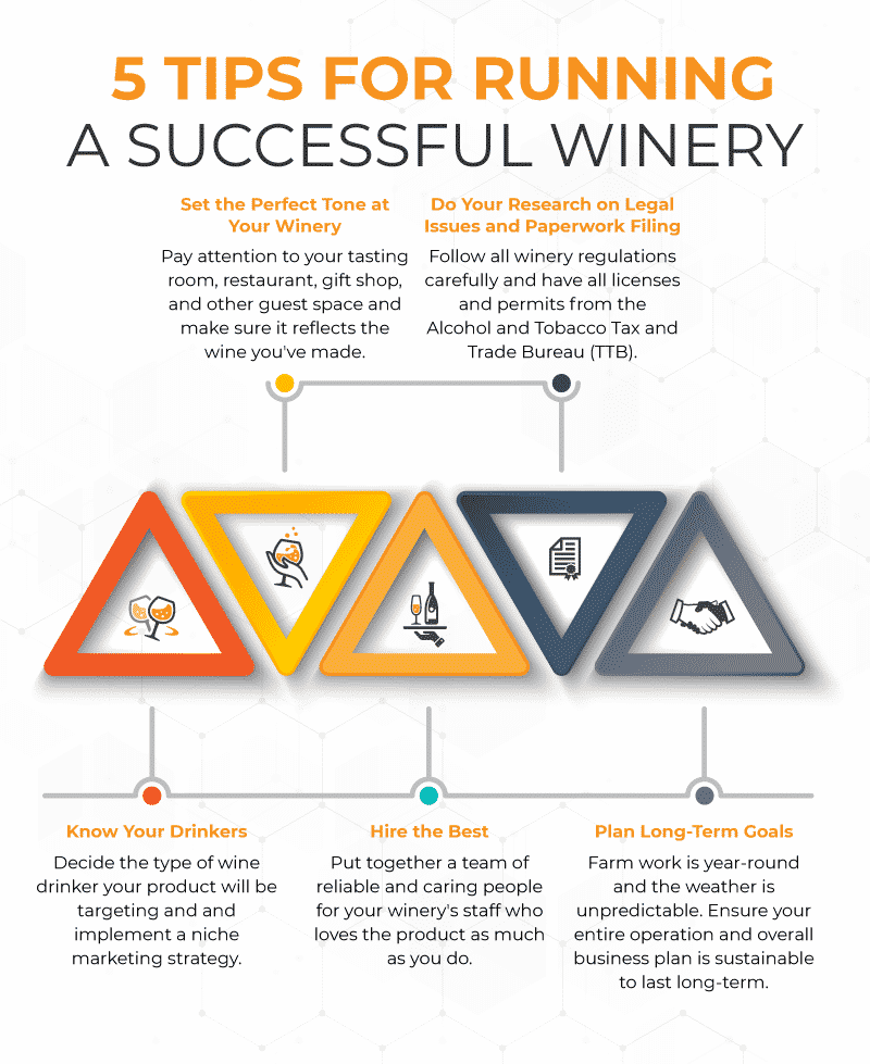 5 Tips for Running a Successful Winery Infographic with each tip described and represented by graphic icons.
