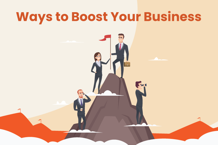 Business owner climbs to the top of a mountain as a metaphor to achieve success
