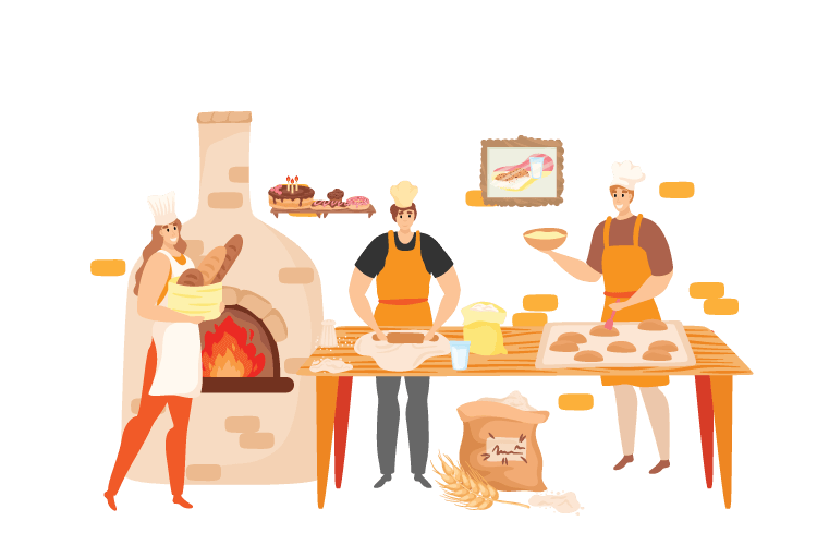 People work in a QSR bakery to make bread and pastries