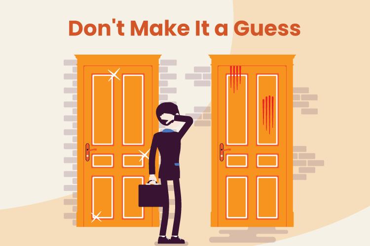 Person has to choose between door 1 and door 2 as a total guess