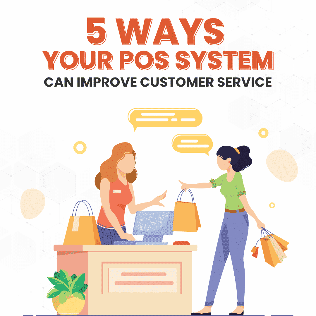 5 Ways Your POS System Can Improve Customer Service Carousel Cover with illustration of salesperson at the checkout counter helping out a customer