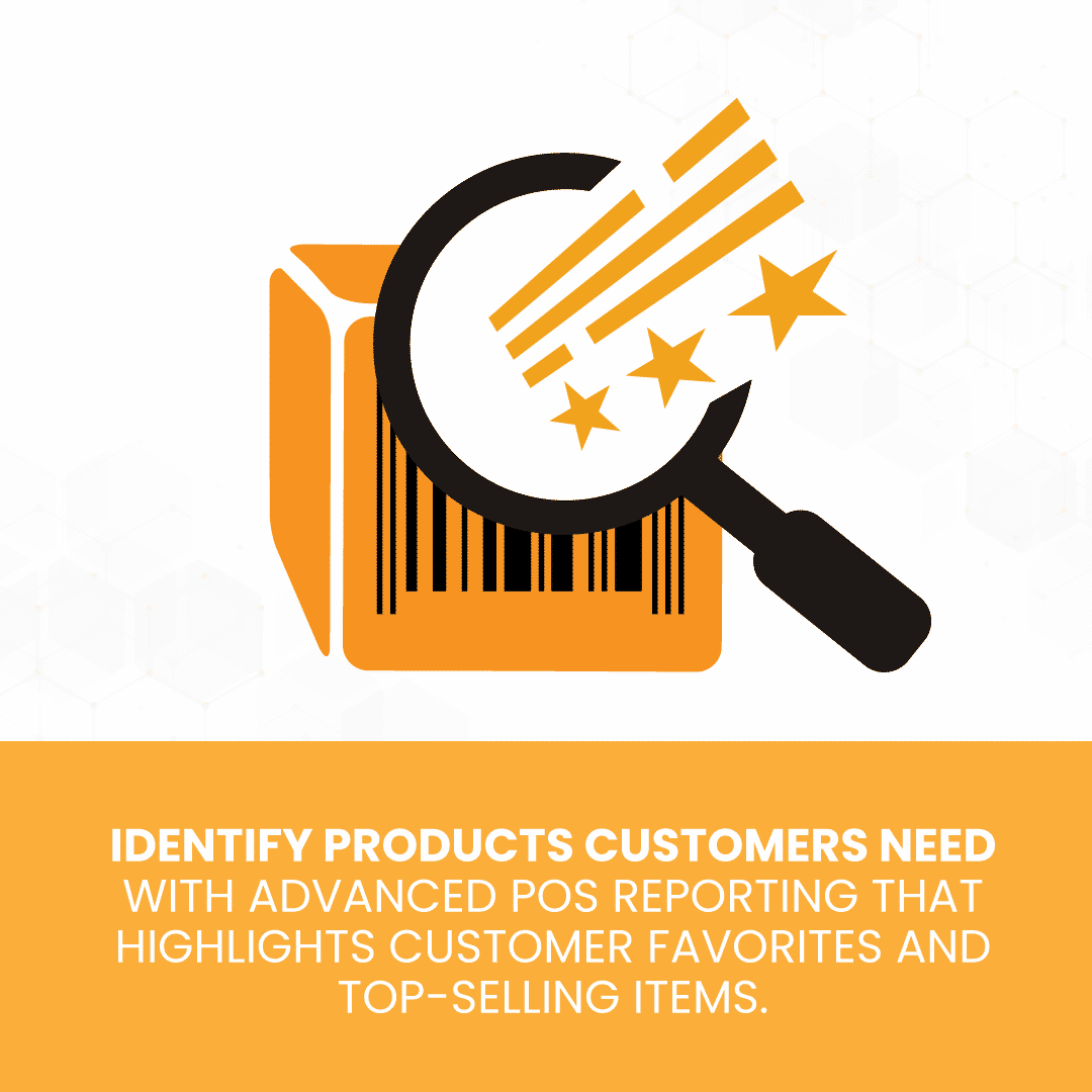 Magnifying glass on product barcode to illustrate identifying products customers need to support how POS system can improve customer service