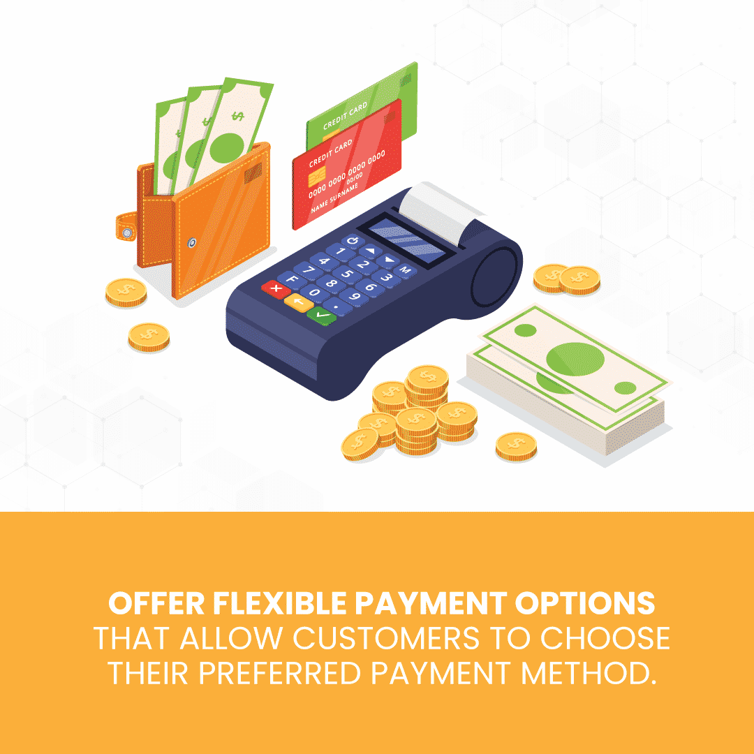 Multiple payment options illustrated to support how POS system can improve customer service