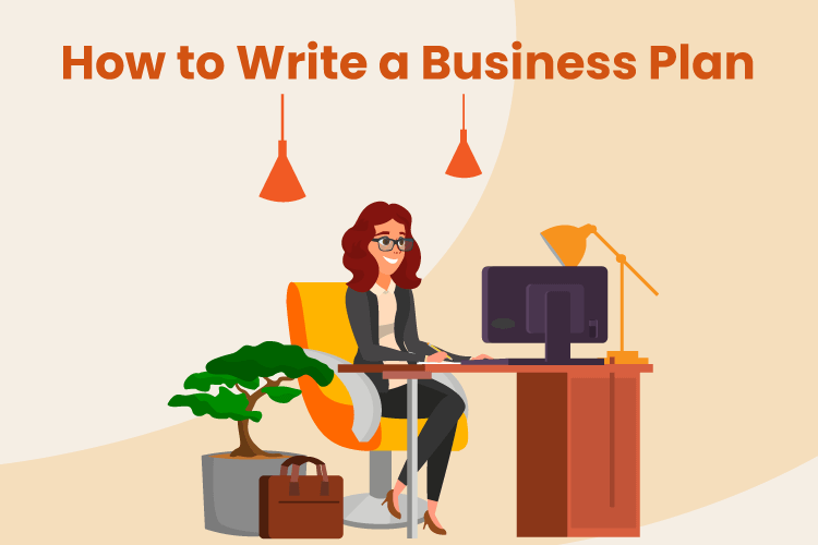 Person sits down at office desk to write a business plan