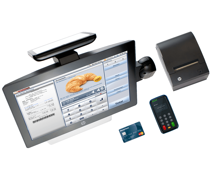 Convenience Store POS desktop, credit card machine, and receipt printer for c-stores
