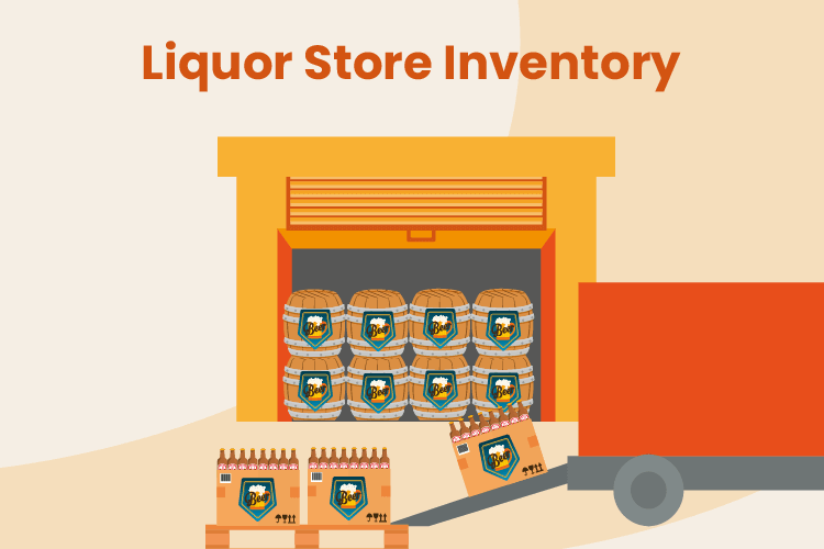Delivey truck drops of liquor store inventory at a liquor retail shop