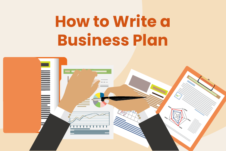 Person write a detailed business plan in an office