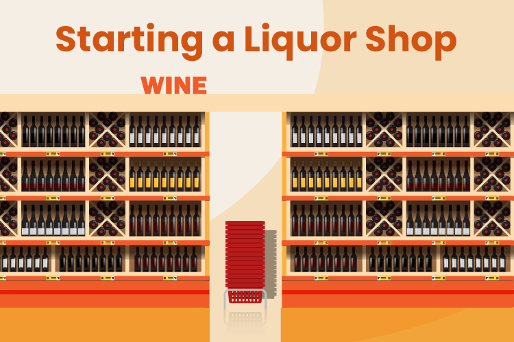 New liquor store with stocked shelves of liquor and wine