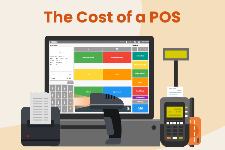 POS desktop with receipt printer, scanner, and credit card machine