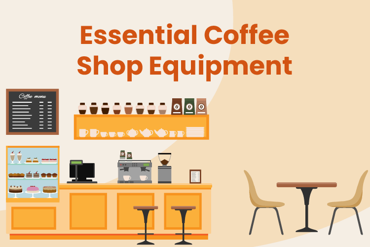 Coffee shop setting with cafe, espresso machine, menu, coffee shop equipment, and table and chairs