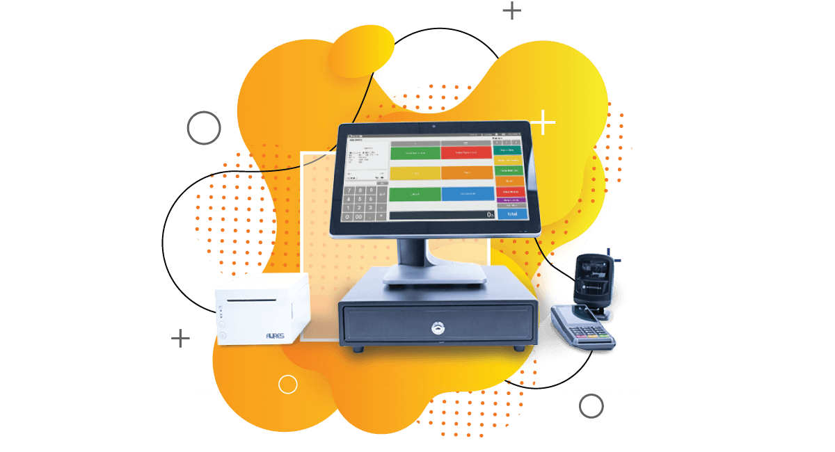 Vape shop point of sale desktop with cash register, receipt printer and scanner