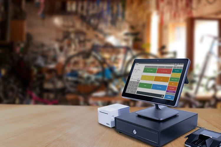Desktop point of sale on a retail counter