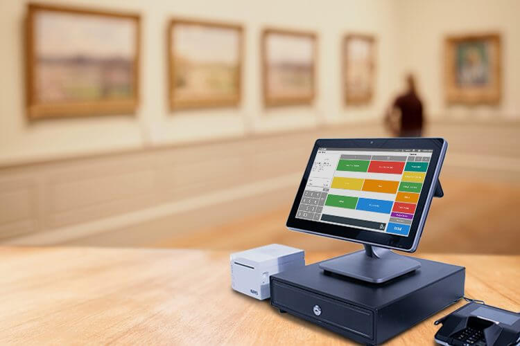 Desktop POS system in a ticketed museum area