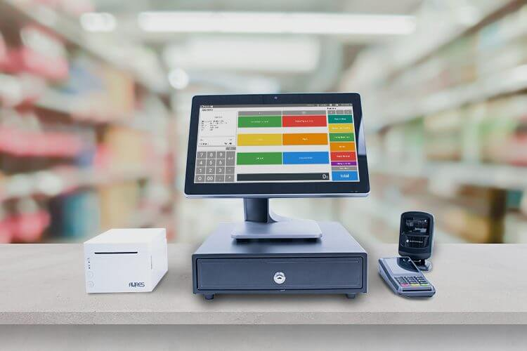 POS desktop with a convenience store aisle in the background
