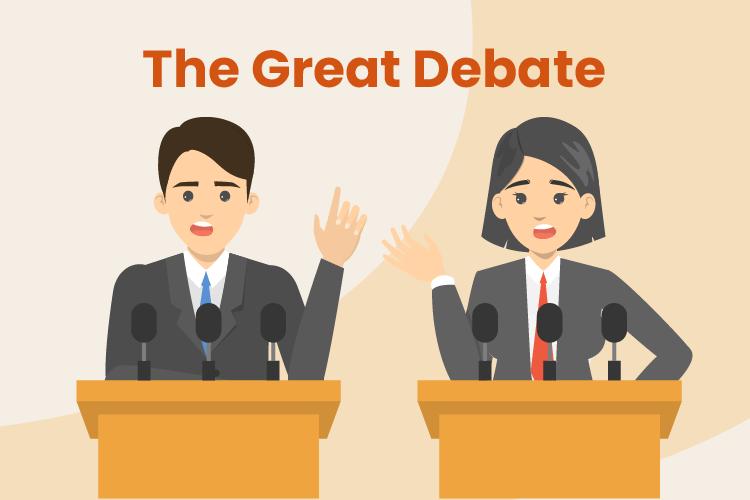 Two people debate the merits of cash registers versus POS systems