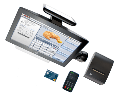 Hardware for a bakery POS system with credit card machine and receipt printer