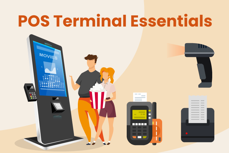 POS kiosk terminal with credit card machine, scanner and receipt printer