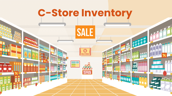 Convenience store shelves filled with inventory