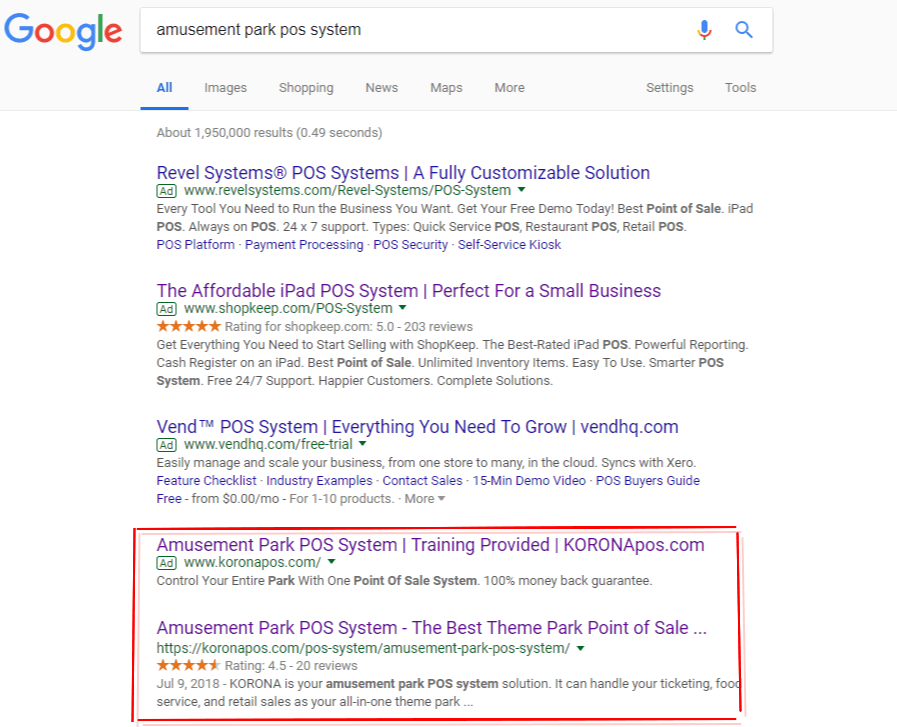 google star rating retail example