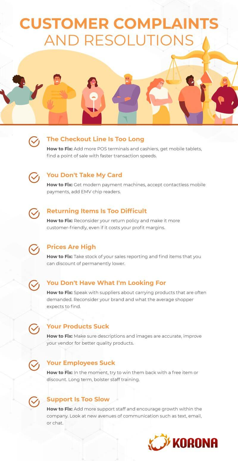 Infograph showing 8 common customer complaints and how to resolve them