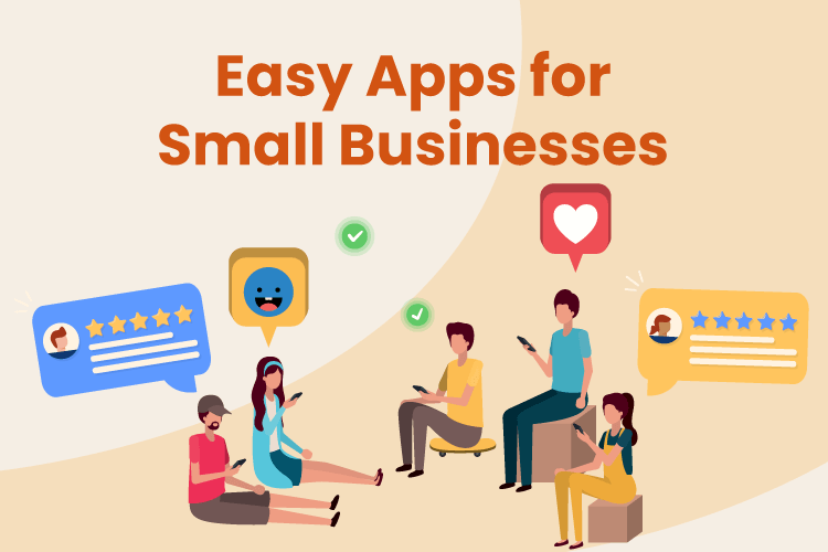 Group of people use small business apps on their phones