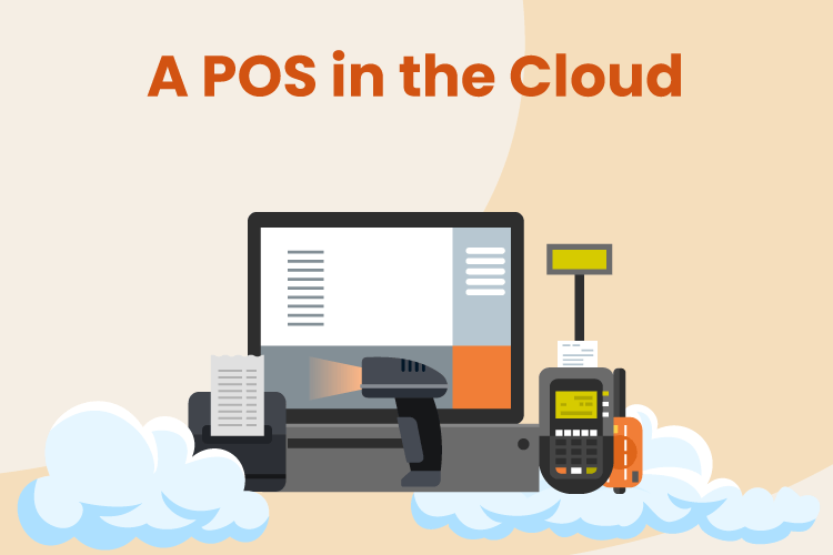 A point of sale system sits on top of clouds