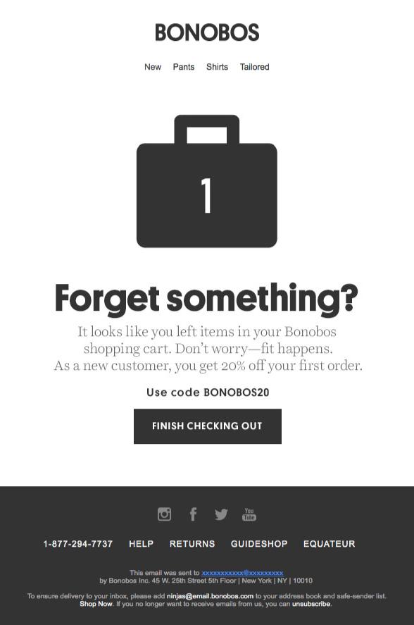 Bonobos abandoned cart email