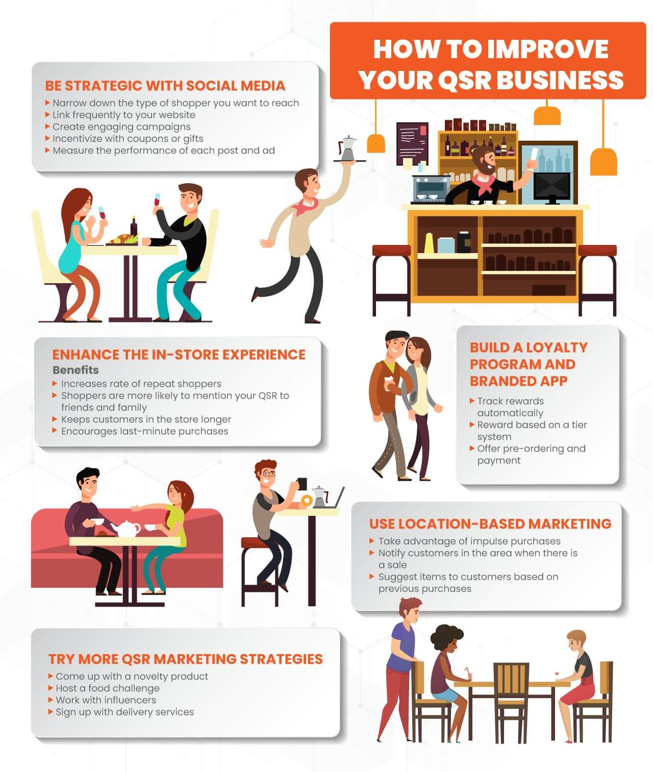 Infographic showing tips on how to improve qsr business with illustrations of a quick serve restaurant