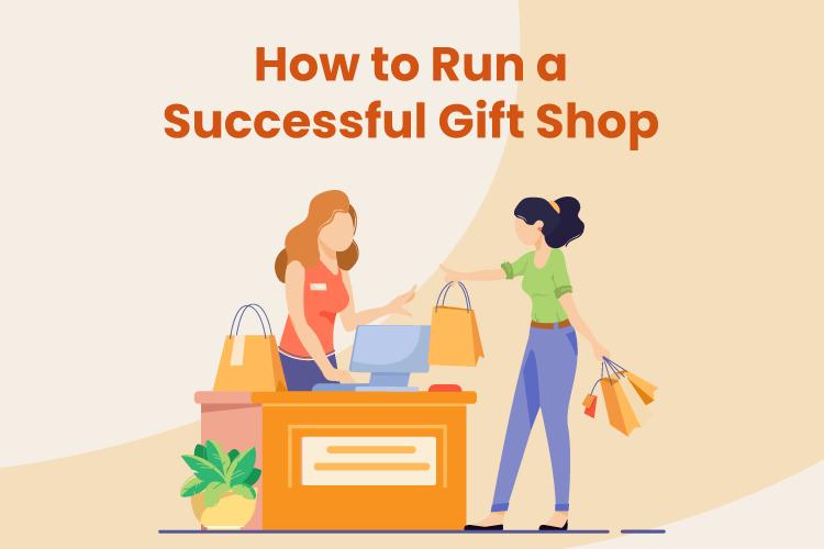 A cashier checks out a shopper at a successful gift shop