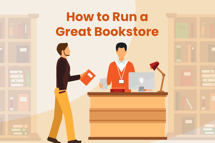 A cashier at a bookstore helps check out a shopper with a few books