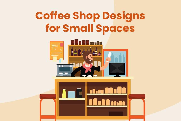 A small coffee shop bar with a barista, POS machine, and espresso maker
