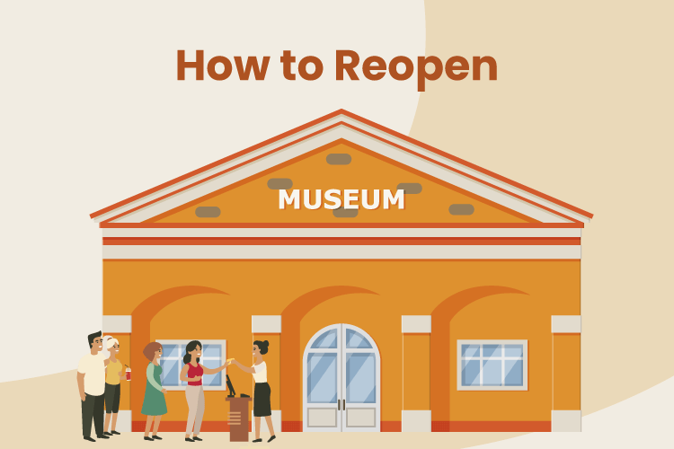 Illustration of a museum reopening after stay-at-home orders were removed