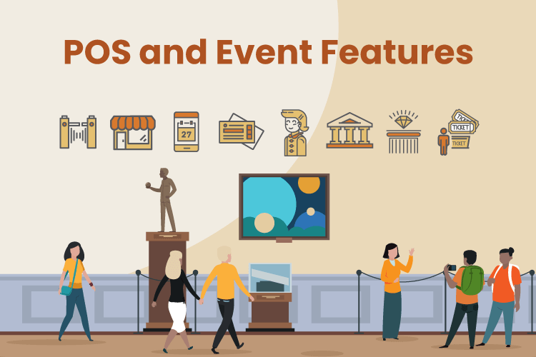 Image of a museum with various event management and POS icons