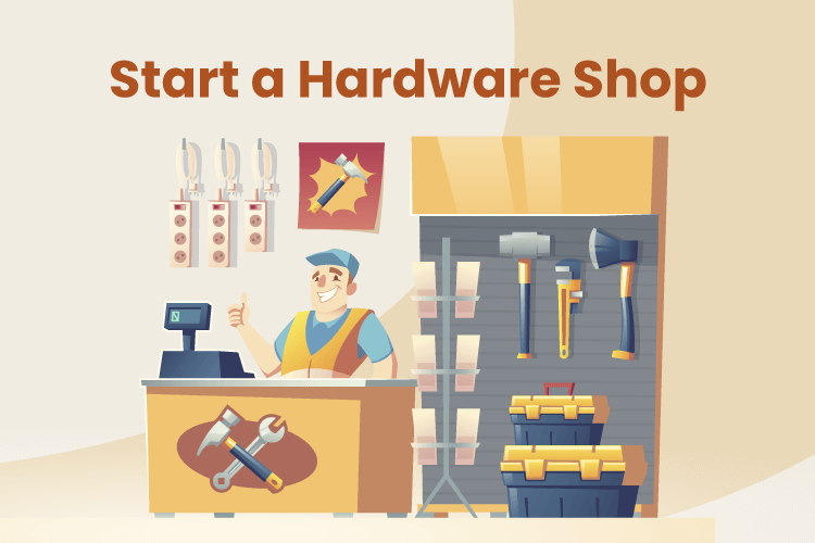 Illustration of a man behind the counter of a hardware store with an array of tools behind him