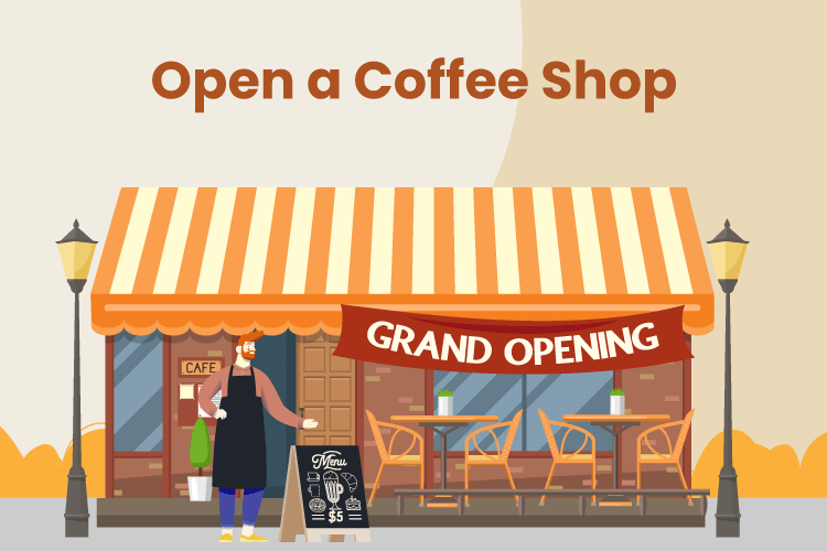 Illustration of a grand opening of a new coffee shop and cafe