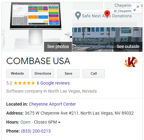 Screen showing example of Google My Business listing with photos and details of business