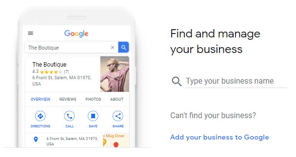screen showing page to start setup of google my business listing and verification
