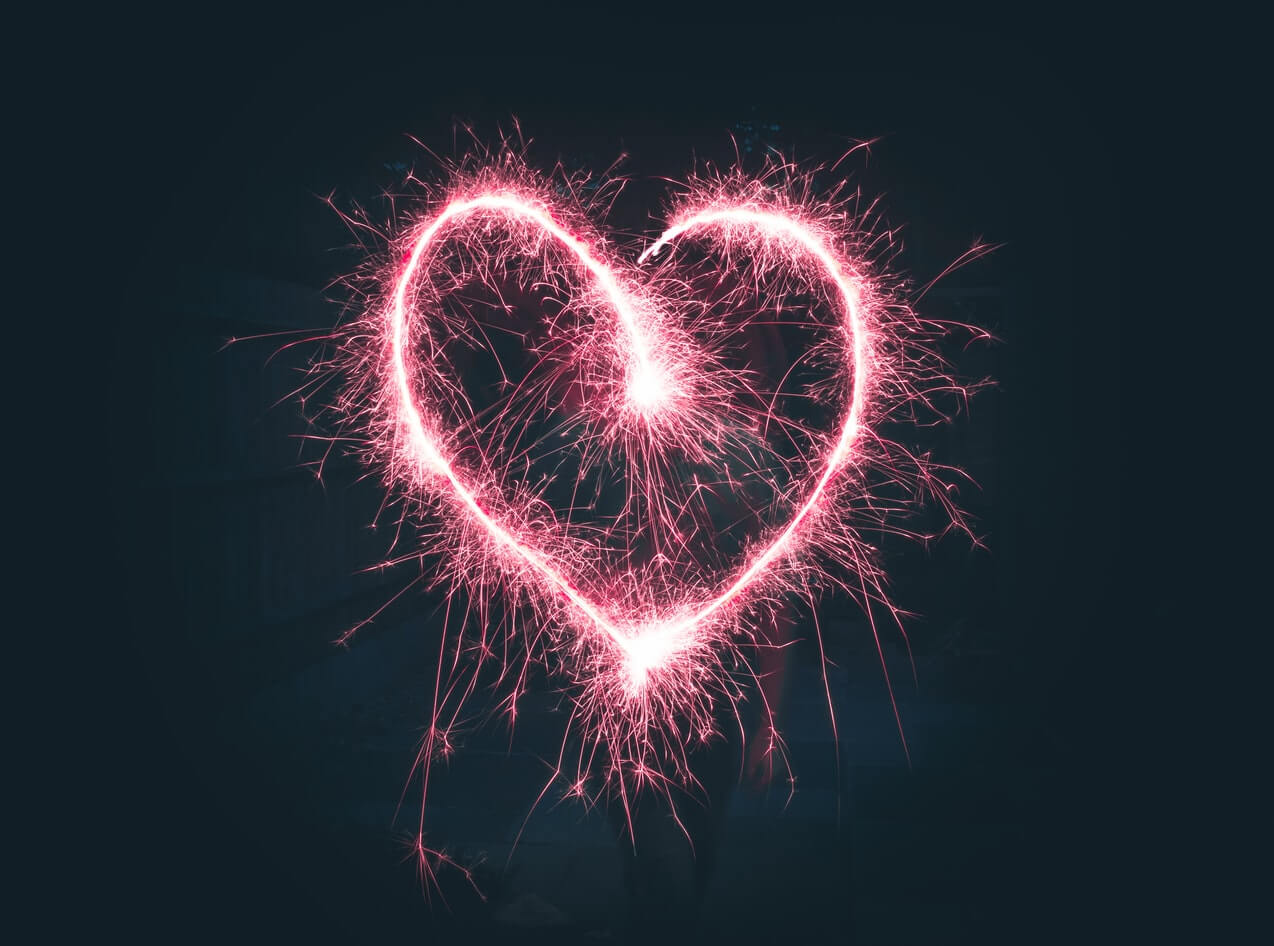 Fireworks in the shape of a heart
