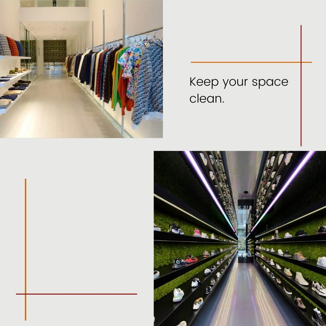 carousel graphic with images of two retail stores that have a clean space