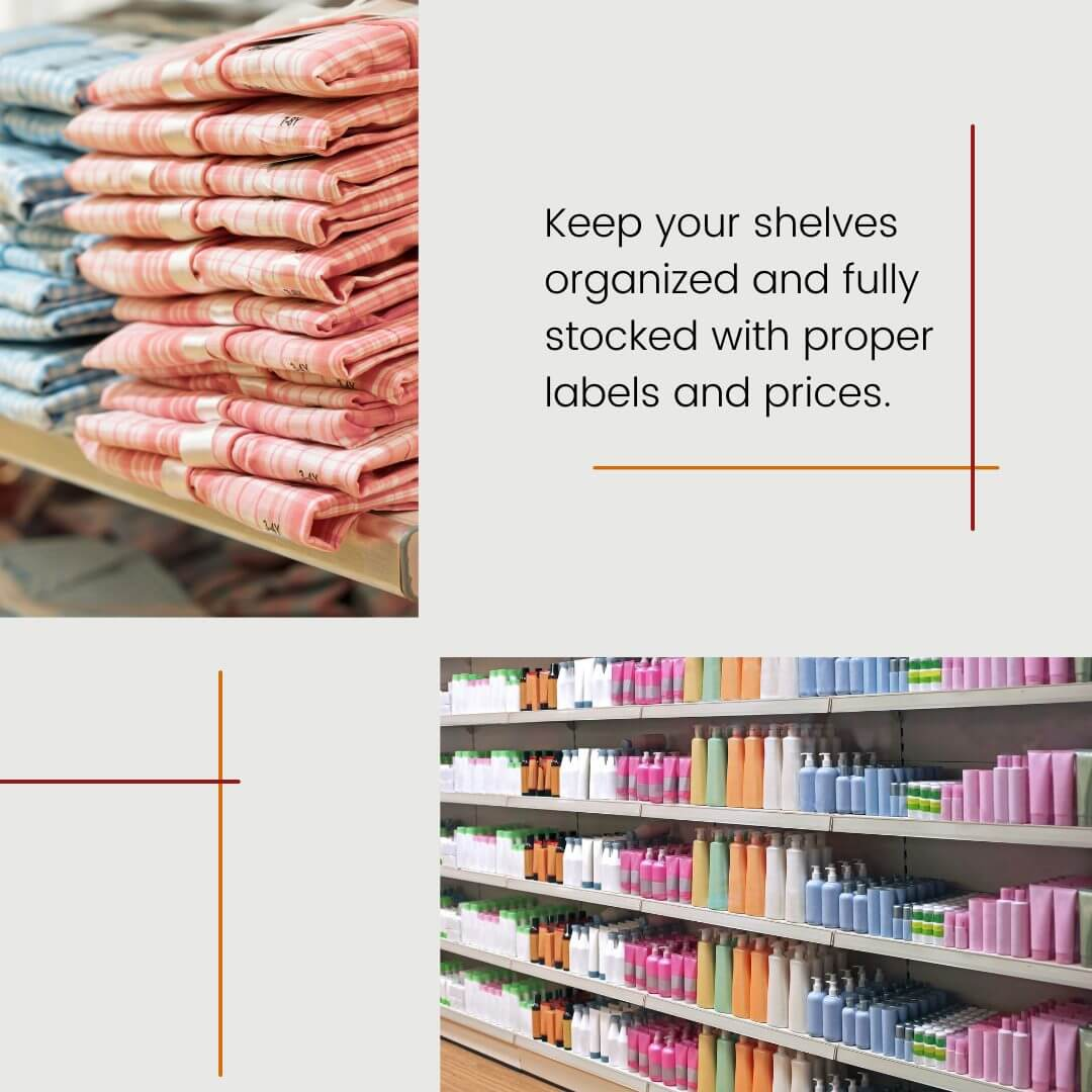 carousel graphic with two images of fully stocked and organized retail store shelves