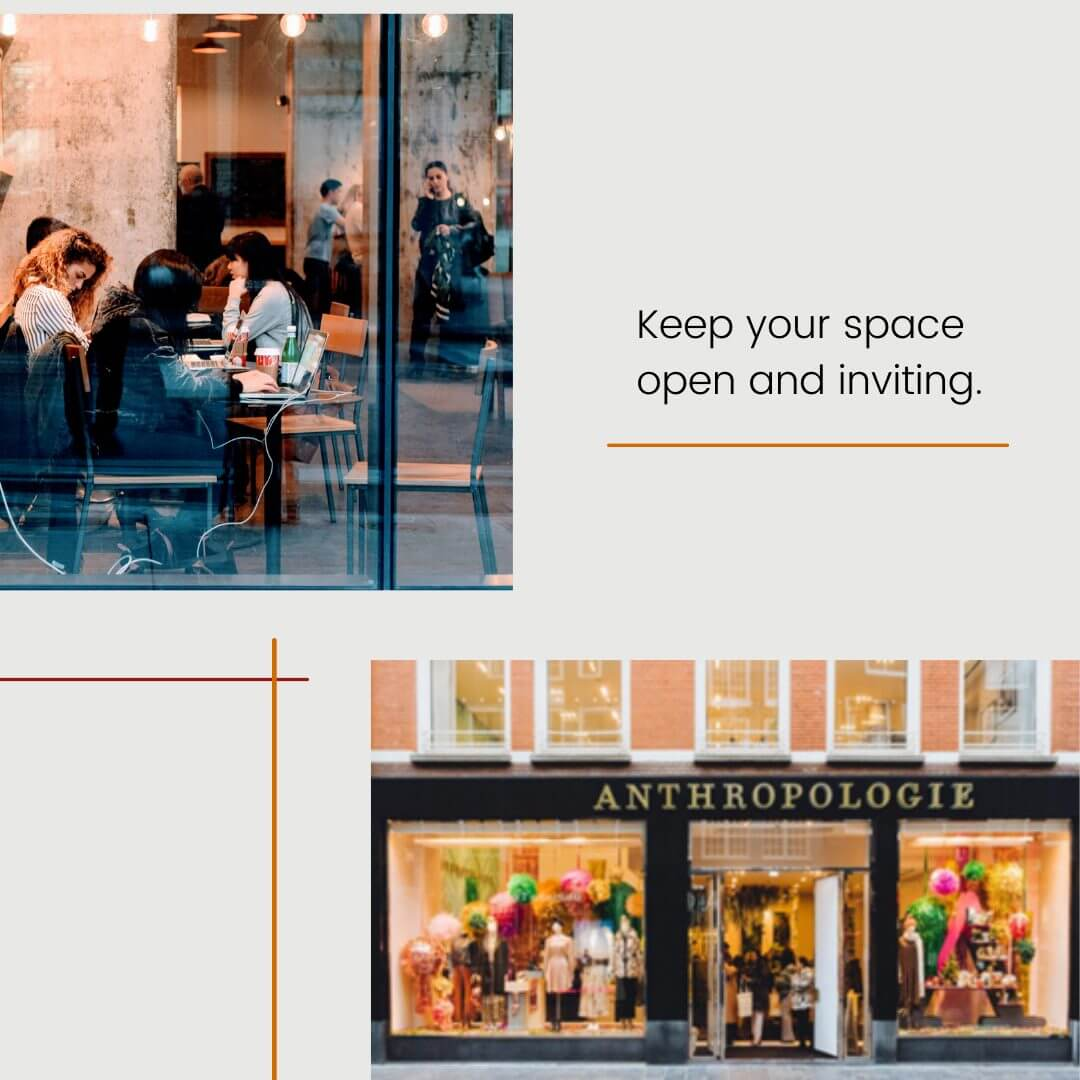 carousel graphic with images of two retail spaces that are open and inviting