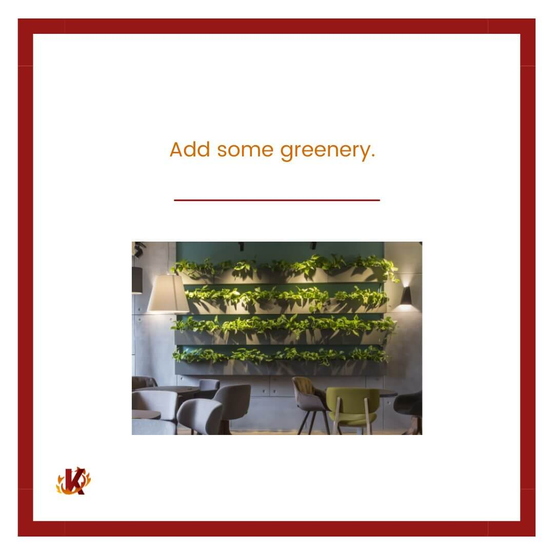 carousel graphic for add some greenery to drive in-store traffic with image of restaurant with green plants on wall