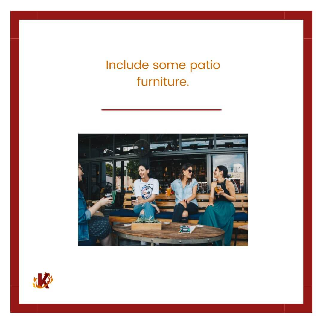carousel graphic for include patio furniture to drive in-store traffic with image of restaurant's patio of people