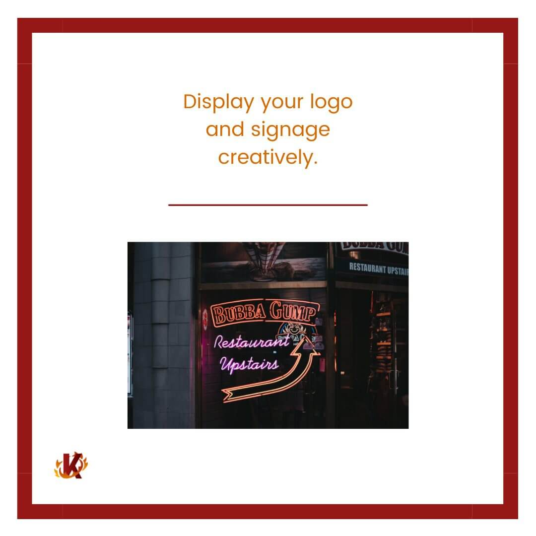 carousel graphic for display your logo creatively to drive in-store traffic with image of bubba gump neon sign