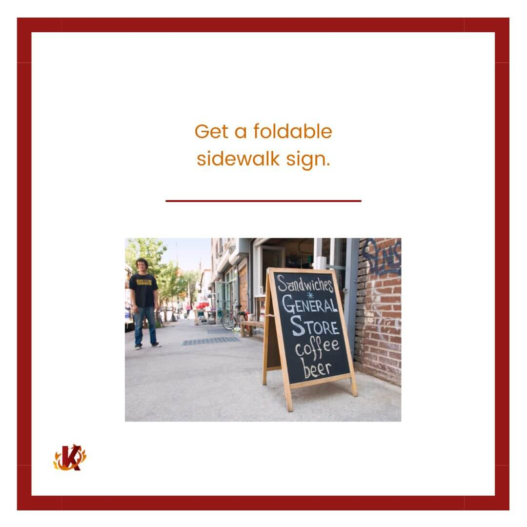 carousel graphic for get a foldable sidewalk sign to drive in-store traffic with image of foldable sign on sidewalk
