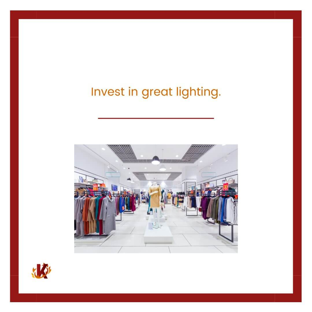 carousel graphic for investing in good lighting to drive in-store traffic with image of store with good lighting