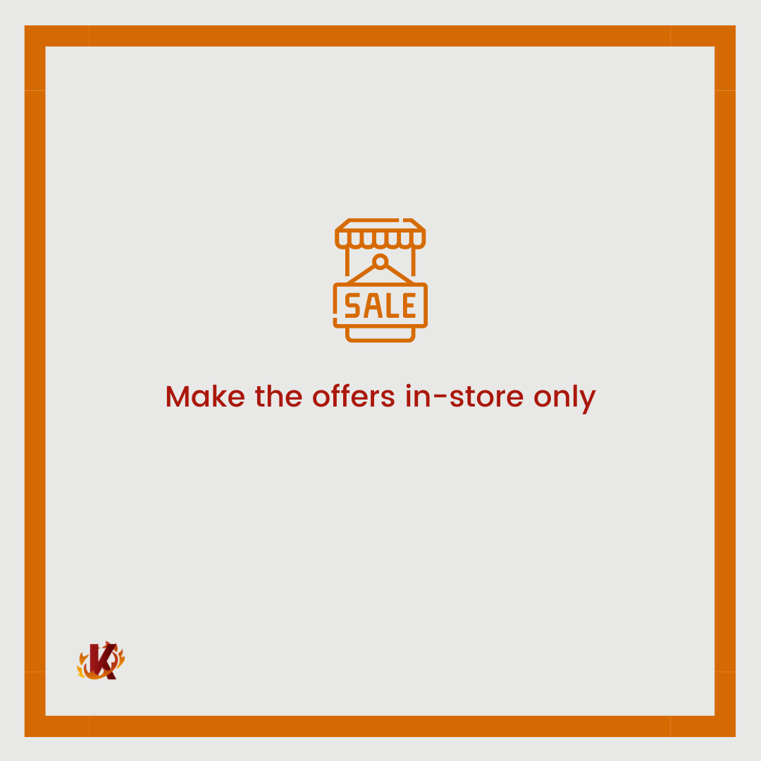 carousel graphic image with store sale icon for the idea make the offer in-store only to drive more traffic