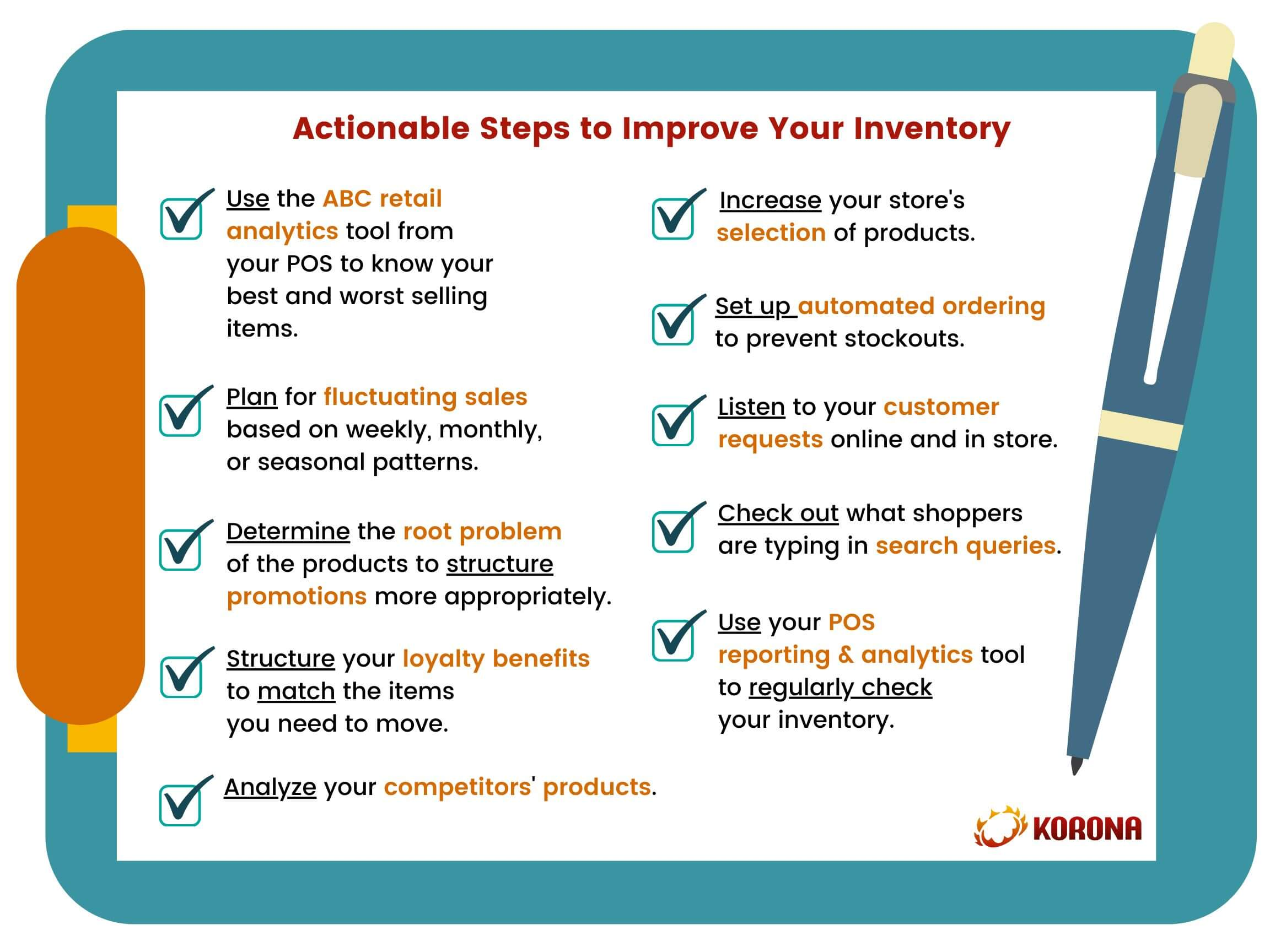 Clipboard Infographic with checklist of Actionable Steps to Improve Your Inventory