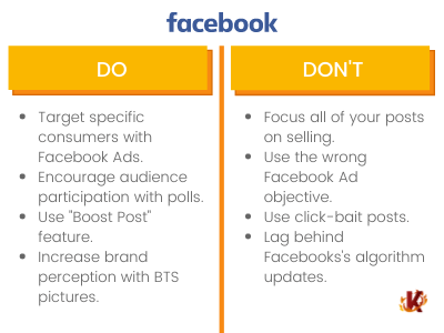 Table of Dos and Don'ts of Facebook Use for Social Media in Retail