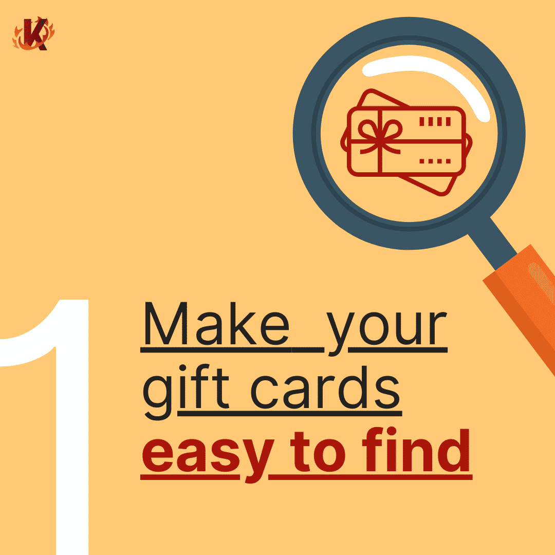 make gift cards easy to find carousel image with magnifying glass on gift card